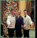 Three Singing Waiters (The Amazing Waiters X3) after a Christmas Show. Call us about our BEST PRICE GUARANTEE.